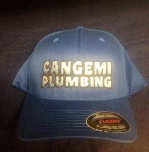 Synergy Print Design produced these embroidered hats for Cangemi Plumbing