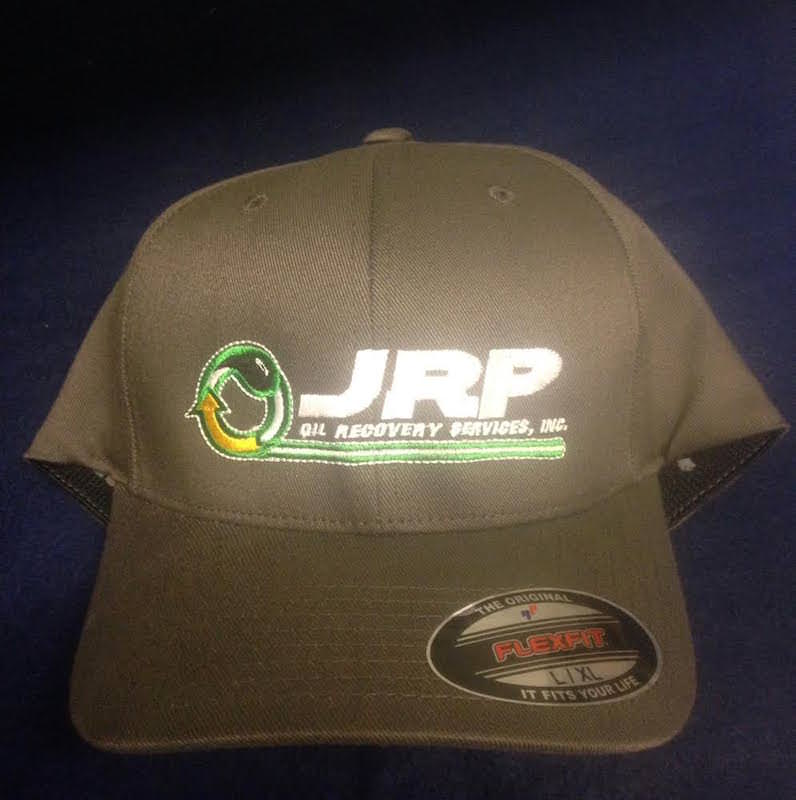 Synergy Print Design created this embroidered cap for JRP Oil Recovery.